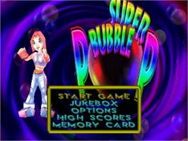 Title screen of Super Bubble Pop on the Sony Playstation.