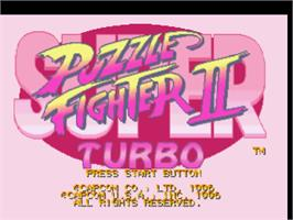 Title screen of Super Puzzle Fighter II Turbo on the Sony Playstation.