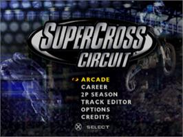 Title screen of Supercross Circuit on the Sony Playstation.