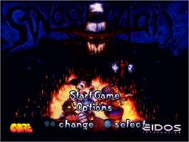 Title screen of Swagman on the Sony Playstation.