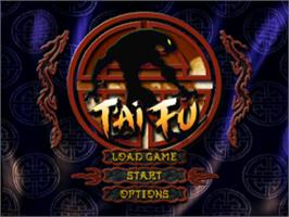 Title screen of T'ai Fu: Wrath of the Tiger on the Sony Playstation.