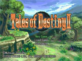 Title screen of Tales of Destiny II on the Sony Playstation.