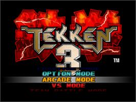 Title screen of Tekken 3 on the Sony Playstation.