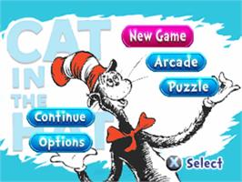 Title screen of The Cat in the Hat on the Sony Playstation.