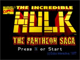 Title screen of The Incredible Hulk: The Pantheon Saga on the Sony Playstation.