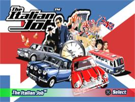 Title screen of The Italian Job on the Sony Playstation.