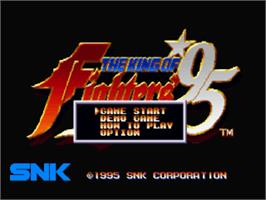 Title screen of The King of Fighters '95 on the Sony Playstation.
