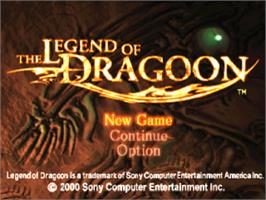 Title screen of The Legend of Dragoon on the Sony Playstation.