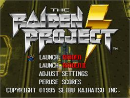 Title screen of The Raiden Project on the Sony Playstation.