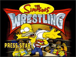 Title screen of The Simpsons Wrestling on the Sony Playstation.