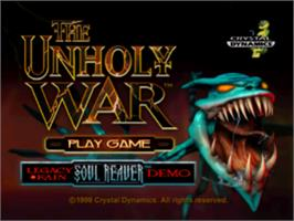 Title screen of The Unholy War on the Sony Playstation.