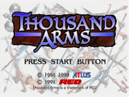 Title screen of Thousand Arms on the Sony Playstation.
