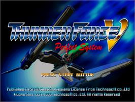 Title screen of Thunder Force V: Perfect System on the Sony Playstation.
