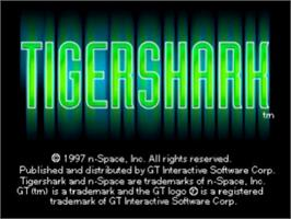 Title screen of Tigershark on the Sony Playstation.