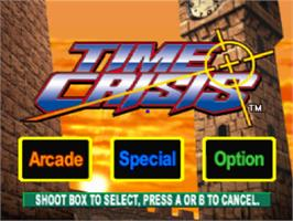 Title screen of Time Crisis on the Sony Playstation.