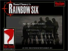 Title screen of Tom Clancy's Rainbow Six on the Sony Playstation.