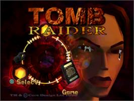 Title screen of Tomb Raider on the Sony Playstation.