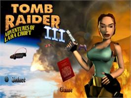 Title screen of Tomb Raider III: Adventures of Lara Croft on the Sony Playstation.