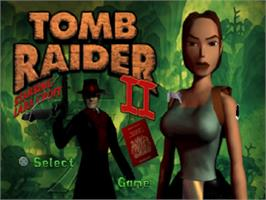 Title screen of Tomb Raider II on the Sony Playstation.
