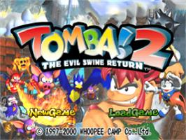 Title screen of Tomba! 2: The Evil Swine Return on the Sony Playstation.