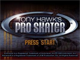 Title screen of Tony Hawk's Pro Skater on the Sony Playstation.