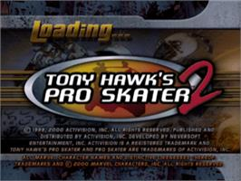 Title screen of Tony Hawk's Pro Skater 2 on the Sony Playstation.