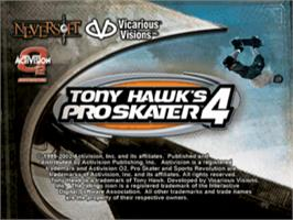 Title screen of Tony Hawk's Pro Skater 4 on the Sony Playstation.