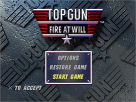 Title screen of Top Gun: Fire at Will on the Sony Playstation.