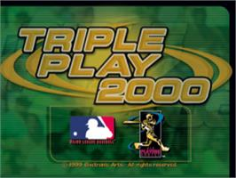 Title screen of Triple Play 2000 on the Sony Playstation.