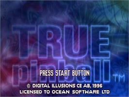 Title screen of True Pinball on the Sony Playstation.