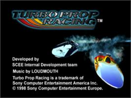Title screen of Turbo Prop Racing on the Sony Playstation.