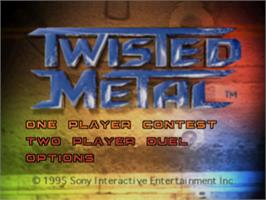 Title screen of Twisted Metal on the Sony Playstation.