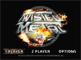 Title screen of Twisted Metal 2 on the Sony Playstation.