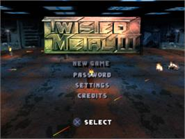 Title screen of Twisted Metal III on the Sony Playstation.