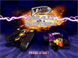 Title screen of Tyco R/C: Assault with a Battery on the Sony Playstation.