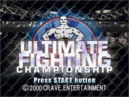 Title screen of Ultimate Fighting Championship on the Sony Playstation.
