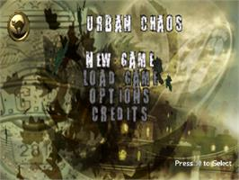 Title screen of Urban Chaos on the Sony Playstation.