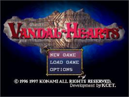 Title screen of Vandal Hearts on the Sony Playstation.