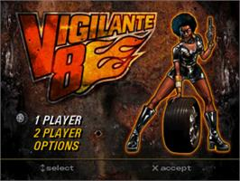 Title screen of Vigilante 8 on the Sony Playstation.