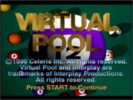 Title screen of Virtual Pool on the Sony Playstation.