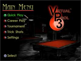 Title screen of Virtual Pool 3 on the Sony Playstation.