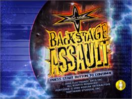 Title screen of WCW Backstage Assault on the Sony Playstation.