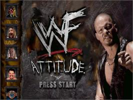 Title screen of WWF Attitude on the Sony Playstation.