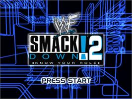 Title screen of WWF Smackdown! 2: Know Your Role on the Sony Playstation.