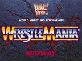 Title screen of WWF Wrestlemania: The Arcade Game on the Sony Playstation.