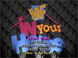 Title screen of WWF in Your House on the Sony Playstation.