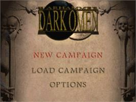 Title screen of Warhammer: Dark Omen on the Sony Playstation.