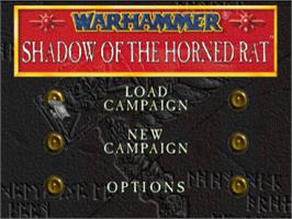 Title screen of Warhammer: Shadow of the Horned Rat on the Sony Playstation.
