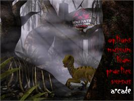 Title screen of Warpath: Jurassic Park on the Sony Playstation.