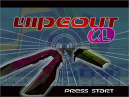 Title screen of Wipeout XL on the Sony Playstation.